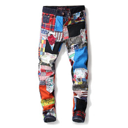 Wholesale punk biker clothing for sale - Group buy mens designer jeans Fashion Retro Straight Motorcycle Biker Flag Jeans Streetwear Style Punk Colourful Flag Denim Pants Clothing
