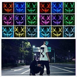 Full led mask online shopping - 2 Styles Colors Halloween LED Mask Neon Skull EL Wire Masks Hallowmas Party Masks Scary Party Cosplay Halloween Costume