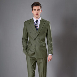 Dark Khaki Suits Australia - Dark Green Wedding Tuxedos Double Breasted Evening Party Men Suits Slim Fit Custom Made Wedding Tuxedos (Jacket+Pants)