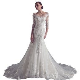 wedding gowns mermaid sleeve UK - Lace Appliques Mermaid Wedding Dresses with Sweep Train 2019 New Scoop Neck Wedding Gowns White Ivory