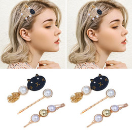 korean bridal hair styles NZ - IKAXON 3Pcs set Korean Cute Cat Acrylic Hairpins Women Girls Hairclips Bridal Hair Style Tool Accessories