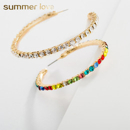 Big Hoop Rhinestone Earring Australia - 2019 New Punk Big Round Hoops Earrings Fashion Colorful Crystal Hiphop Rock Jewelry Statement Party Earrings For Women Wholesale