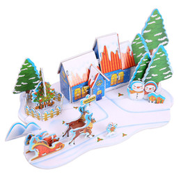 Miniature toys online shopping - 3D Three Dimensional Miniature Christmas Puzzles Paper House Toys For Children DIY Fight Inserted Model