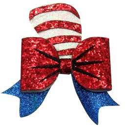 $enCountryForm.capitalKeyWord Australia - 4 .5 Inch Sweet Barrettes Guitar Synthetic Leather Hair Bow Clips Christmas Hearwear Hairclips Shining Hair Accessories for Girls Kids