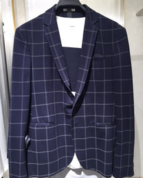 navy check suit Australia - Navy Check Wedding Tuxedos Notched Lapel Male Jacket Groom Wear 2 Pieces Pants Suits Slim Fit Designer Jacket Blazer