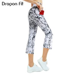 yoga pants flare 2020 - Dragon Fit Workout Flare Yoga Capris Pants Women High Waist Gym Leggings Wide Leg Fitness Bootleg Yoga Leggings With Poc