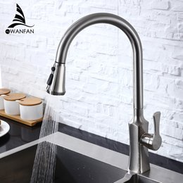 pull out spray kitchen UK - Spray Brushed Nickel Stream Handle Kitchen Faucet Tap Rotation Mixer Swivel Pull Out Durable Sink Sprayer Single Hole 866388SN T200423