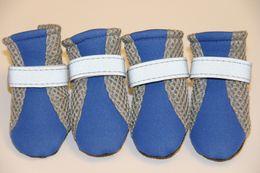 Pet Straps Australia - 10Sets Pet Dog Boots Shoes Summer Winter Breathable Mesh Shoes For Dog Reflective Straps Dog Shoes 6 Colors 4 Sizes