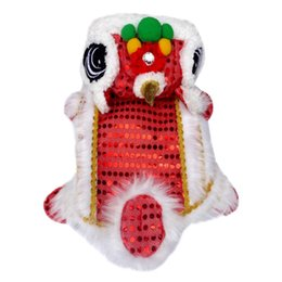 clothes ornaments Australia - Dog Clothes Pet Dog Winter Warm Chinese Style New Year Dragon Dance Sequins Makeover Funny Clothes Red Lucky Cosplay Costumen
