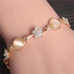 Gold Wholesalers China Australia - New hot seller woman fashion bride jewelry gift flower opal bracelet gold crystal statement bracelet & Bangles