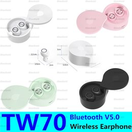 earbuds pair NZ - TW70 True Wireless Earbuds Bluetooth 5.0 Earphone Automatic Pairing Water Droplets Shape Headphone Headset Stereo Earbuds With Mic Earphone