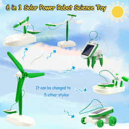 $enCountryForm.capitalKeyWord Australia - 6 In 1 Solar Power Robot Kit Assembly Gadget Airplane Boat Car Train Model Science Education Toy Gift for Boys Kids Party Favor