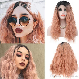 ombre loose wave synthetic wig NZ - Free Shipping Synthetic Wigs Ombre Pink Color Loose Wave Hair Lace Front Wigs 20 Inch Heat Resistant Women Wigs with Natural Hairline