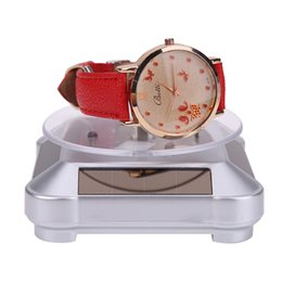 Rings Showcase Australia - New Fashion Solar Showcase 360 Turntable Rotating Jewelry Watch Ring Phone Display Stand Portable Watch Holder with 4 Colors