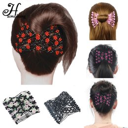 Double Clip For Hair Australia - Haimeikang Hair Magic Comb Clip for Women Girls Beaded Flower Barrette Hairpin Elastic Double Hair Combs Clips Accessories