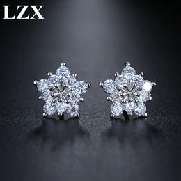Brand Flower Australia - Stud Earrings LZX Brand Elegant Five Petals Flower Stud Earrings for Women and Girl White Gold Color Cubic Zirconia Crystal Stone Jewelry