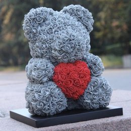 $enCountryForm.capitalKeyWord Australia - 40cm rose Teddy Bear Flowers Wedding Decoration foam bear with Love Heart Rose Bear Crafts Valentines Day Gift for Girls