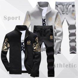 Jacket Pants Tracksuit Australia - US SIZE Men Set Clohing Fashion 2019 Casual Tracksuit Men's Track Suit Gold-Print Classical Sweatshirt Jacket&Jogger Pants Male