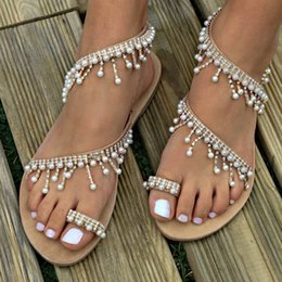 $enCountryForm.capitalKeyWord NZ - Hot sale Fashion Women Beaded Sandals Summer Shoes Party Sexy Pearl Flat Bottom Sandals for dropshipping