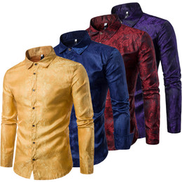 Discount eur shirt Men's Button Down Shirt Embroidery Floral Long Sleeve Dress Shirts Slim Fit Shirts Man Business Party Club Tops Nig