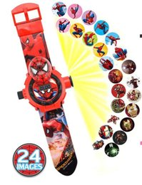 pattern batteries NZ - Kid watch Princess Spiderman Watches Projection Cartoon Pattern Digital Child watch For Boys Girls LED Display 3D Projection Gift Clock