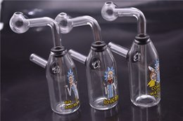 Discount bottle dab rigs - Cartoon logo Honeycomb Dab Oil Rigs mini Bottle Bong Thick Glass Water beaker Bongs With Detachable downstem pot