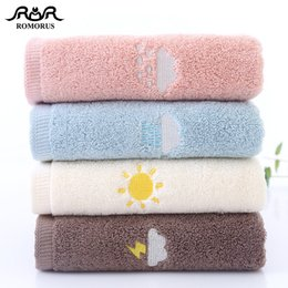 design bath towels NZ - wholesale New Design Thick 100% Cotton Towels 500gsm Weather Symbol Embroidered Bath Face Towel for Adults Quality Gift Towels