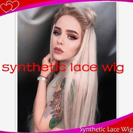 blonde wig brown roots synthetic Australia - short dark roots brown ombre blonde free part hair synthetic front lace wig for woman