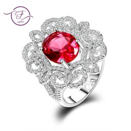 Ruby gemstone foR Rings online shopping - New Arrival Oval Red Ruby Gemstone Ring White Cz Sliver Jewelry Rings For Women Size Fashion Women Jewelry Gift J
