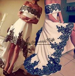 $enCountryForm.capitalKeyWord NZ - 2019 Elegant Satin Wedding Dresses off shoulder hi-low black applique gothic Bridal Gowns Plus Size sweep train lace up cheap Robe De Mariée
