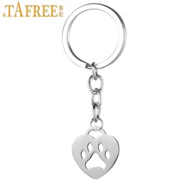 Dog Metal Key Chains NZ - TAFREE fashion heart shaped dog bear paw print pendant keychain stainless steel animal key chain ring holder women jewelry SKU24