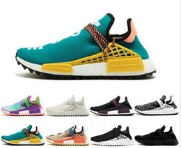 "Deep Discount Shoes Australia - 2019 Cheap Wholesale ""human race"" Holi Flash Green N.E.R.D Core Hot 2016 men's & Women's Discount Classic Cheap running shoes With Box"