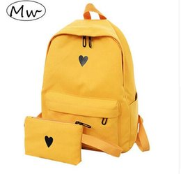 Canvas Prints Australia - Moon Wood High Quality Canvas Printed Heart Yellow Backpack Korean Style Students Travel Bag Girls School Bag Laptop Backpack