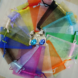 Mesh Jewelry Australia - 50pcs Plain Color Organza Bag Drawable Colors Drawstring Pouch Mesh Bag For Wedding Christmas Party Gift Jewelry Packaging Bag