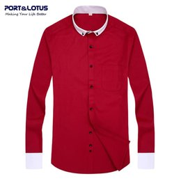 Long Collared Shirts Men Australia - Port&Lotus Men Dress Shirt Brand clothing Contrast Color long sleeve turn-down collar solid collar 018 men clothes wholesale