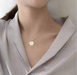 $enCountryForm.capitalKeyWord Australia - New Trendy Delicate Small Disc Chic Necklace Women Silver Gold Chain Choker Women's Necklaces Jewelery Pendant Gift