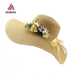 9edc116fed2f7 QIUBOSS Summer Trendy Women Wide Brim Sun Hats Outdoor Ladies Paper Straw  Beach Sunhat Folding Beach Sunshade Cap for Female
