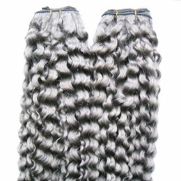 grey peruvian hair 2019 - brazilian kinky curly virgin hair 2pcs Human Hair Weaving Bundles grey virgin hair 2Piece Non-Remy Bundles cheap grey pe