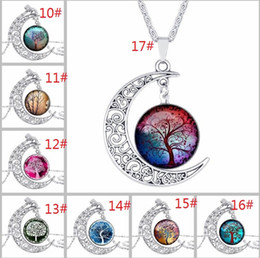 Discount tree fairies 64 Designs Glass Cabochon Necklace Tree of Life Galaxy Moon Zodiac Wolf Fairy Necklace Pendants Fashion Jewlery Will and