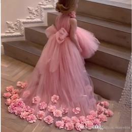 3d girls pictures Australia - 2020 Pink High Low Flower Girl Dresses 3D Flowers Big Bow Girls Pageant Dress vestido de daminha Dress for Kids Custom Made