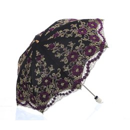 bumbershoot umbrella UK - Folding Umbrella Rain Women And Uv Protection Embroider Umbrella Fashion Lace Bumbershoot Fashion Lace Umbrellas For T8190619