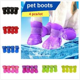 4Pcs lot Waterproof Protective Pet Rain Shoes Pet Dog Puppy Outdoor Non-slip Durable Rain Boots Shoes 7 Candy Colors on Sale