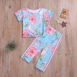 $enCountryForm.capitalKeyWord Australia - Toddler Kids Baby Girl clothes short Sleeve Floral Print Cotton T-shirt Tops+Pant Legging Outfit Clothing Set 2PCS Set #25A