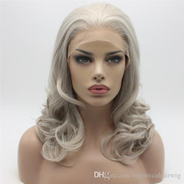 lace front grey wig 2019 - Natural Hairline Glueless Shoulder Length Grey Wig Half Hand Tied Body Wave Hair Heat Resistant Synthetic Lace Front Wig