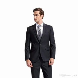 Costumes Navy UK - Slim Fit Men Suits for Wedding Black Groom Tuxedo Groomsmen Suits Man Business Blazer Bridegroom Jacket 2 Pieces(Coat+Pants)Costume Homme