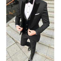 $enCountryForm.capitalKeyWord Australia - Italian Slim Fit Charcoal Mens 3 Pieces Wedding Suits Jacket+Pants+Vest Groom Tuxedos Suits for Wedding Business Formal Suits