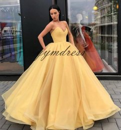 $enCountryForm.capitalKeyWord Australia - Elegant Yellow 2019 Prom Dresses V-Neck Backless Organza Ruffles Ball Gown Formal Evening Party Gowns Vestidos de Fiesta