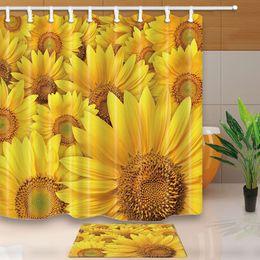 Sunflower curtainS online shopping - Sunflower flower Bathroom Decor Shower Curtain Waterproof Fabric w Hook F3343