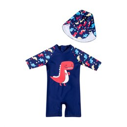 24e65f257c6e5 1-6Y Kid Toddler Boys Dinosaur Swimsuit Hats 2PCS Swimwear UV Sun  Protection Clothes