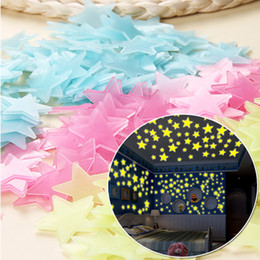 3d Wall Star Stickers Australia - star stickers 100Pcs DIY Colorful Wall Stickers Luminous Star Sticker Fluorescent Glow In The Dark Baby Kids Bedroom Decal Stars Home Decor